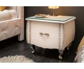 Štýlový kožený biely nočný stolík Caledonia na kovových nohách, s jednou zásuvkou a so sklenenou povrchnovou doskou