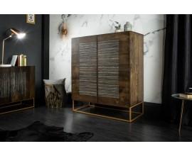Moderná luxusná vysoká komoda Helge z dreveného masívu mango