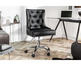 Dizajnové kancelárske kreslo Bel v štýle chesterfield, s čiernym poťahom z imitácie kože, kovovými cvokmi a na koliečkach