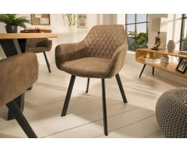 Jedinečná dizajnová jedálenská stolička Ventura v modernom štýle so svetlohnedým poťahom a s čiernymi nohami