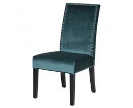 Luxusná jedálenská stolička Lucienne s vysokým operadlom a tyrkysovým poťahom101cm