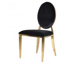 Art-deco dizajnová jedálenská stolička Shantay s poťahom čiernej farby 94cm