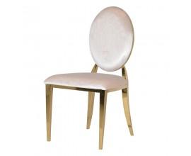 Art-deco dizajnová jedálenská stolička Shantay s poťahom slonovinovej farby 94cm