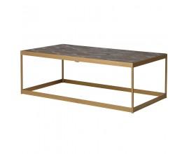 Art-deco dizajnový konferenčný stolík Ramia v hnedo-zlatom prevedení z brestu a medi 122cm