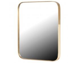 Dizajnové zrkadlo Viviane v art-deco štýle so zlatým rámom obdĺžnikového tvaru so zaoblenými rohmi