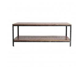 Industriálny dizajnový obdĺžnikový konferenčný stolík Aminte mango z masívu 120 cm