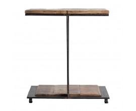 Industriálny dizajnový príručný stolík Aminte mango z masívu 55 cm