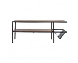 Industriálny štýlový konferenčný stolík Aminte mango z masívu 120 cm