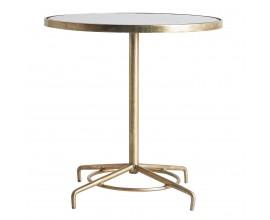 Art-deco dizajnový okrúhly príručný stolík Beadwof mramorový