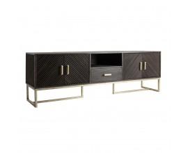 Moderný luxusný TV stolík Catia z masívneho dreva tmavohnedý 200 cm so zásuvkou a štyrmi dvierkami