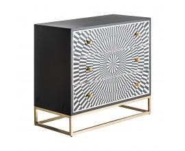 Art-deco komoda Caderina s tromi zásuvkami so vzorom vyrobeným z kostí čierno-biela