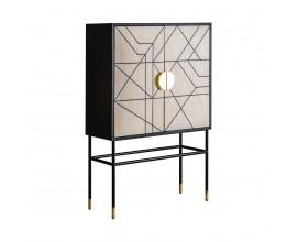Moderná barová skrinka Diodato z MDF a kovu bielo-čierna 100 cm so vzorom vyrobeným z kostí
