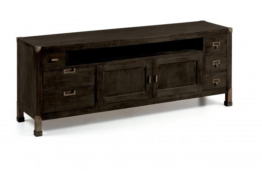 Štýlový luxusný tv stolík M-Industrial v čiernej farbe z masívu,so zásuvkami a poličkami a s kovovými prvkami v medenej farbe