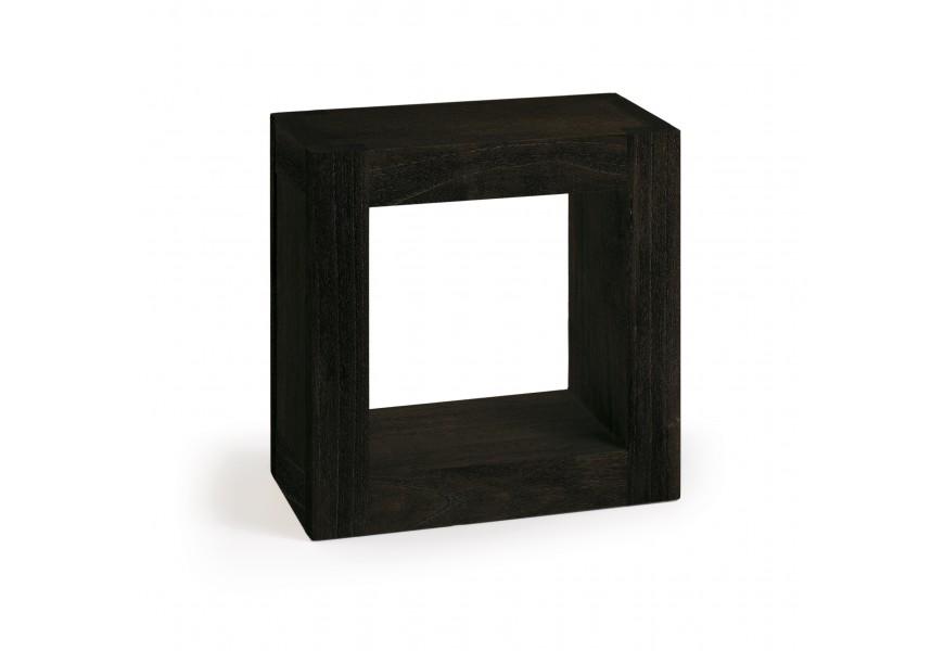Masívna polička čiernej farby z dreva mindi štvorcového tvaru