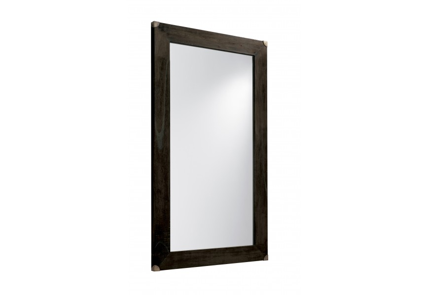 Luxusné nástenné zrkadlo M-Industrial s rámom v čiernej farbe z masívu a s kovovými prvkami v industriálnom štýle