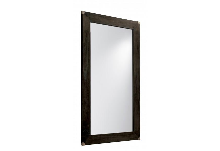 Exkluzívne nástenné zrkadlo M-Industrial s rámom čierne farby z masívneho dreva mindi a s kovovými prvkami 150cm
