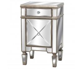 Zrkadlový nočný stolík s dvierkami a zásuvkou v medenej farbe 80 cm
