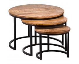 Industriálny set troch okrúhlych konferenčných stolíkov Durano II