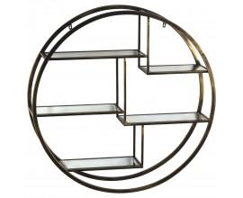 Dizajnová art-deco polica Gina kruhového tvaru s piatimi sklenenými poličkami a s mosadznou kovovou konštrukciou