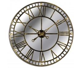 Dizajnové zrkadlové nástenné zrkadlové hodiny Dorian okrúhleho tvaru so zlatým rámom