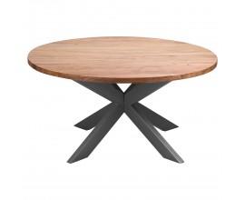 Industriálny okrúhly jedálenský stôl Live Edge 150cm