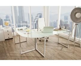 Jedinečný moderný rohový kancelársky stôl Mayer oblúkovitého tvaru zo skla a kovu v bielej chrómovej farbe