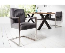 Dizajnová stolička Inspirativo v retro štýle so sivým poťahom z mikrovlákna a s kovovou konštrukciou striebornej farby