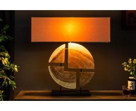 Masívna dizajnová široká stolná lampa Alaska 79cm orech