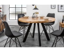 Štýlový a dizajnový industriálny jedálenský stôl  Steele Craft kruhového tvaru z masívneho mangového dreva v svetlohnedej farbe