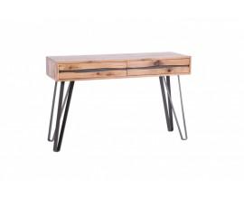 Dizajnová konzola Andala v modernom štýle z dubového masívneho dreva, s dvomi zásuvkami a s čiernymi kovovými nohami
