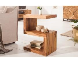 Štýlová masívny príručný stolík Sefina z dreva palisander svetlohnedej farby v tvare S