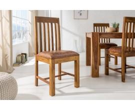 Luxusná jedálenska stolička z dreva s čalúneným sedákom Makassar