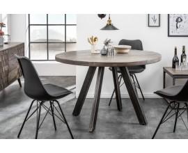 Industriálny okrúhly jedálenský stôl Steele Craft 120cm sivý z masívneho dreva
