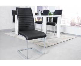Štýlová dizajnová stolička Gristol v modernom prevedení s čiernym poťahom z imitácie kože a s kovovými chrómovými nohami
