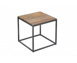 Industriálny príručný stolík Cobra 40cm z teakového dreva
