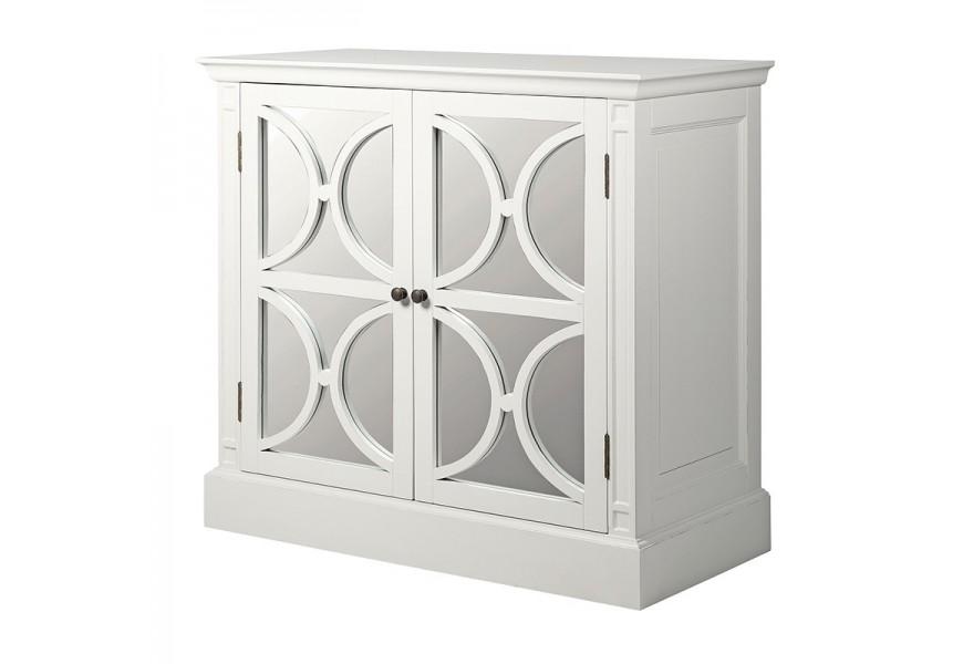 Luxusná masívna biela skrinka Blanché s nadčasovými zrkadlovými dvierkami
