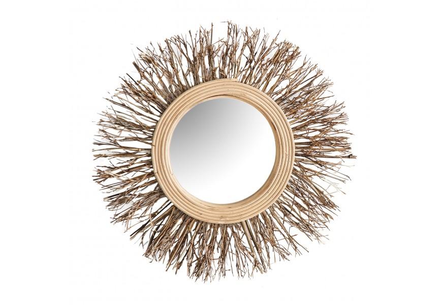 Vkusné nástenné zrkadlo Plythe v bambusovom ráme