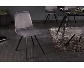 Moderná štýlová stolička Hartlepool Gris v sivej farbe so zamatovým poťahom a s čiernymi nohami