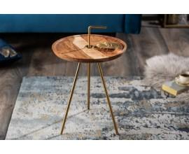 Dizajnový retro príručný stolík Gedling Gold so zlatými nohami