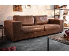Dizajnová sedačka vo vintage hnedej farbe z ekokože s efektom zostarnutej kože.