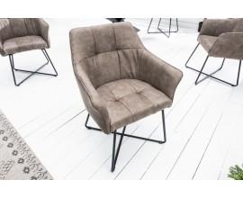 Moderná industriálna jedálenská stolička Armlehne šedá mikrovlákno s podrúčkami