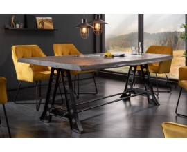 Industriálny jedálenský stôl Mammut 220 cm z masívu čierno šedý