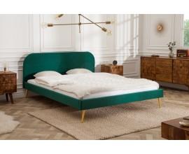 Jedinečná retro posteľ Ribble v zelenom zamatovom poťahu 160x200cm