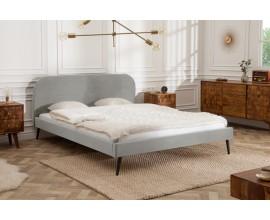 Nadčasová manželská sivá zamatová posteľ Ribble 140x200cm