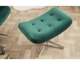 Dizajnový moderný taburet Deventry Emerald zo zamatu