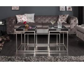 Dizajnový set moderných konferenčných stolíkov Nobile v čiernej farbe