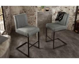 Industriálna dizajnová barová stolička Corina v antickej šedej farbe
