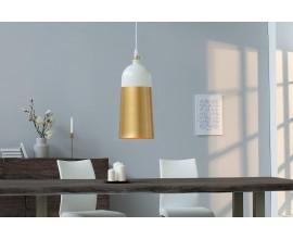 Dizajnová moderná oválna lampa ModernChic I 31 cm bielo-zlatá
