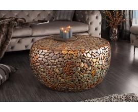 Mozaikový industriálny okrúhly konferenčný stolík Riverstone 82 cm medenej farby