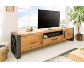 Industriálny štýlový TV stolík Adin z masívu 200cm
